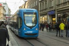 Zagreb, Kroatienspårvagnnätverk Arkivbild