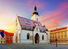 Zagreb kyrka - St Mark Royaltyfria Bilder