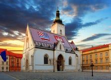 Zagreb kyrka - St Mark Arkivbilder