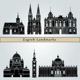 Zagreb landmarks and monuments royalty free illustration