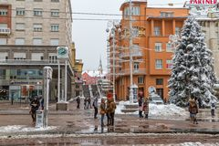 Zagreb main square snow scene Royalty Free Stock Image