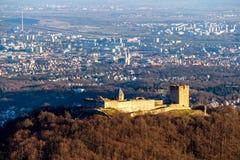 Zagreb Medvedgrad. Aerial view of Zagreb over the old town Medvedgrad, capital of Croatia Royalty Free Stock Photo