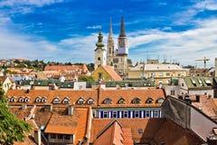 Zagreb - mening van hogere stad Stock Foto's