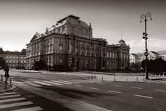 Zagreb - National Theatre. The Croatian National Theater in Zagreb - black&white royalty free stock image