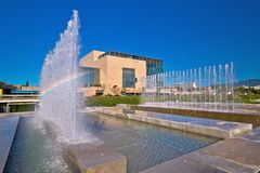 Zagreb. The National and University Library in Zagreb and fountains meadow view