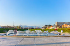 Zagreb new fountains - long exposure Stock Images