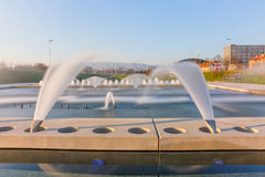 Zagreb new fountains - long exposure Royalty Free Stock Photos