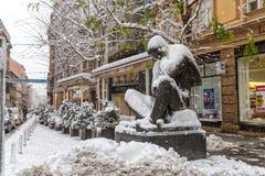 Zagreb Nikola Tesla dans la neige Image libre de droits