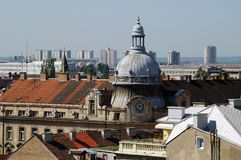 Zagreb  - old and new. Urban panoramic photo of Zagreb, Croatia Royalty Free Stock Photos