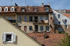 Zagreb, old palaces. Zagreb, facades of old palaces in the Old Town Royalty Free Stock Image