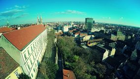 Zagreb old town - aerial. ZAGREB, CROATIA - DECEMBER 22, 2014: Aerial shot of the down town from Upper towns old Strossmayer promenade stock video footage