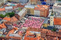 Zagreb, opinión aérea del helicóptero Foto de archivo libre de regalías