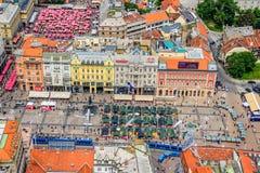 Zagreb, opinión aérea del helicóptero fotografía de archivo
