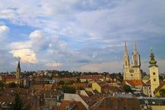 Zagreb panorama Royaltyfri Fotografi