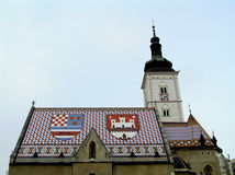 Zagreb roof. Famous roof in zagreb with flag stock photography