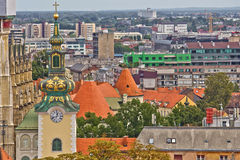 Zagreb rooftips and church tower Royalty Free Stock Photo