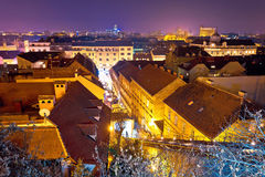 Zagreb rooftops evening advent view Royalty Free Stock Images