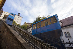 Zagreb's funicular in action Stock Image