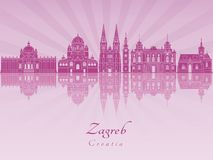 Zagreb-Skyline in der purpurroten leuchtenden Orchidee stock abbildung