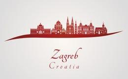 Zagreb-Skyline im Rot stock abbildung