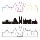 Zagreb skyline linear style with rainbow royalty free illustration