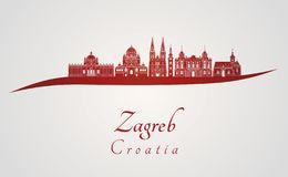 Zagreb skyline in red stock illustration