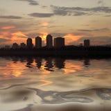 Zagreb skyline on river Sava Stock Photos