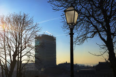 Zagreb skyscraper with a lantern. The skyscraper on the main square is a recognizable landmark, seen here in early winter morning with a lantern on the Upper Royalty Free Stock Photo