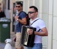 Zagreb-Straßen-Musiker/Akkordeonspieler Lizenzfreie Stockfotos