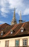 Zagreb street. Medieval cathedral in Zagreb and old street building roof Royalty Free Stock Photos