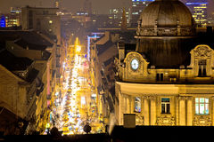 Zagreb street and architecture evening view Royalty Free Stock Image