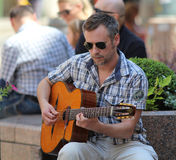 Zagreb Street Musician / Guitar Player Royalty Free Stock Images