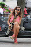 Zagreb / Street Musician / Sax Player Royalty Free Stock Photography
