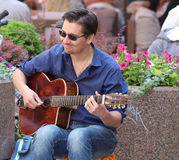 Zagreb / Street Musician / Smile Of Guitar Player Royalty Free Stock Photography