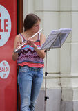Zagreb Street Musician / Young Woman Playing Flute Stock Photos