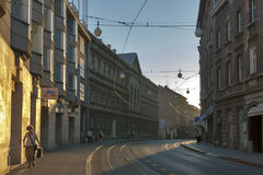 Zagreb street at sunset Royalty Free Stock Photos