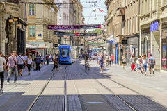 Zagreb streets on a weekday during the daytime in the summer. City of Zagreb is the capital of Croatia. Stock Photo