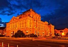 Zagreb teatru narodowego noc Fotografia Stock