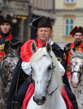 Zagreb Tourist Attraction / Cravat Regiment Guard Riders. The Cravat Regiment members rides on Ban Jelacic Square, Zagreb, Croatia. The Cravat Regiment (Croatian Royalty Free Stock Photography