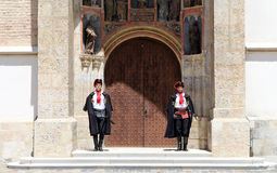 Zagreb Tourist Attraction / Cravat Regiment Guards. The Cravat Regiment members standing in front of St. Mark's Church, Zagreb, Croatia. The Cravat Regiment ( Royalty Free Stock Images