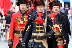 Zagreb Tourist Attraction / Cravat Regiment Marching Stock Images