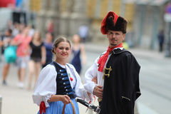 Zagreb Tourist Attraction / Cravat Regiment Member And His Fiancee Royalty Free Stock Photography