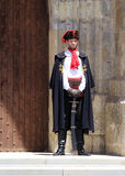 Zagreb Tourist Attraction / Guard Of Honor. The Cravat Regiment member standing in front of St. Mark's Church, Zagreb, Croatia. The Cravat Regiment (Croatian Royalty Free Stock Photo