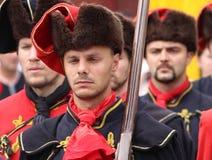 Zagreb-Touristenattraktion/Krawatten-Regiment/kroatische Armee des 17. Jahrhunderts Lizenzfreie Stockbilder