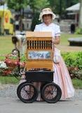 Zagreb-Touristenattraktion/Organ-Schleifer Lady Lizenzfreies Stockfoto