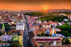 Zagreb town in sunset, Croatia. Aerial view on Zagreb downtown during sunset, popular touristic destination and capital city of Croatia, Europe Royalty Free Stock Images