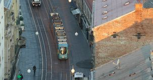 Zagreb tram. On empty street stock video