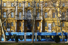 Zagreb tram in front of the Archeology Museum Royalty Free Stock Image