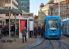 Zagreb tram station stock image