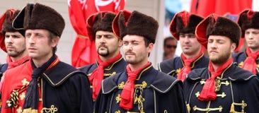 Zagreb turist- dragning/kravattregemente/arrangera i rak linje Royaltyfria Bilder